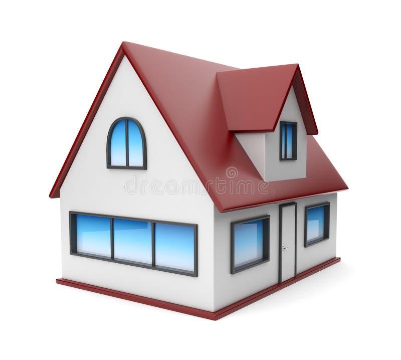 3d房子图标查出的小的白色 向量例证