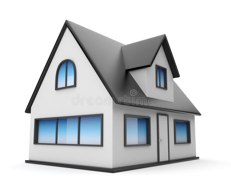3d房子图标查出的小的白色 库存例证
