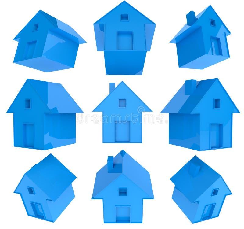 3d房子图标集 向量例证
