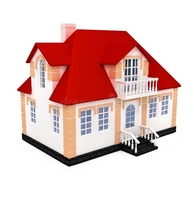 3d房子查出新的专用白色 库存例证