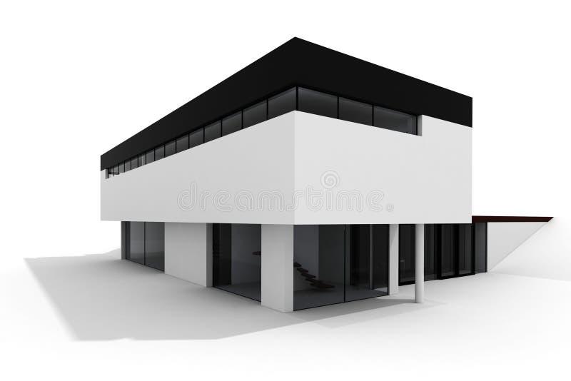 3d房子查出现代白色 向量例证