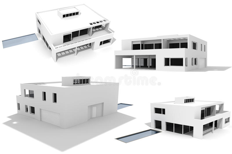 3d房子查出现代装箱白色 皇族释放例证