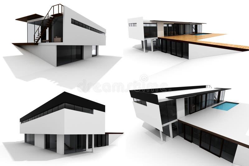 3d房子查出的现代装箱白色 库存例证