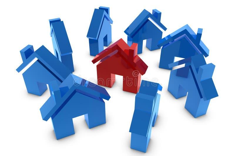 3d房子符号 库存例证