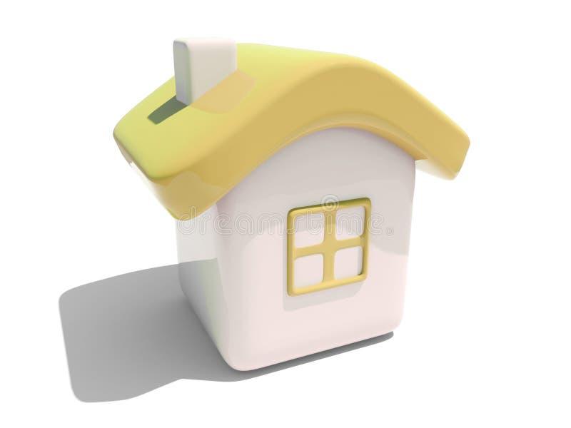 3d房子简单的黄色 皇族释放例证