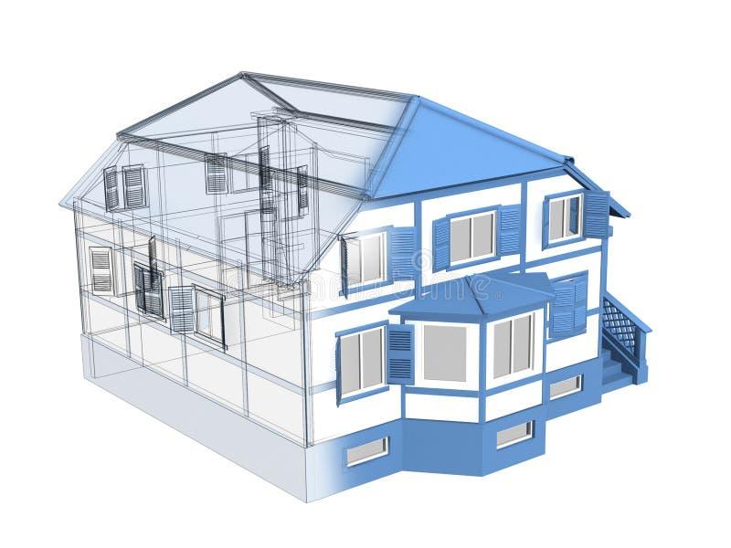 3d房子草图 向量例证