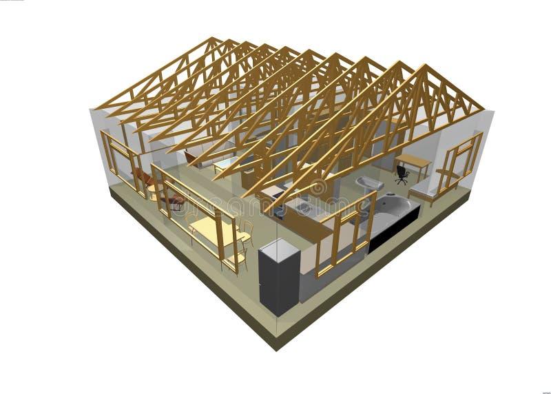 3d房子 向量例证