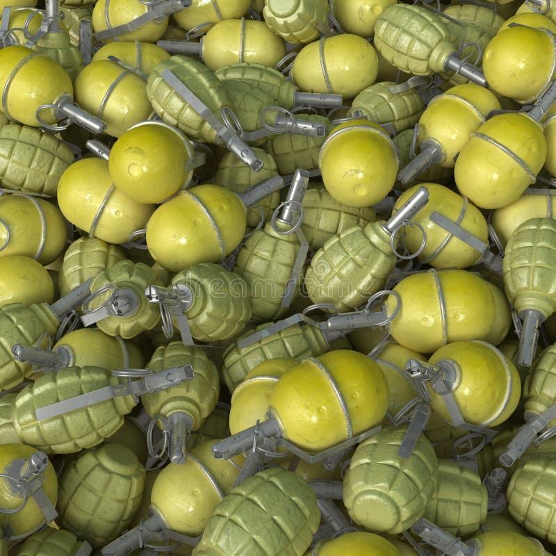 3d手榴弹现有量堆回报 免版税库存图片