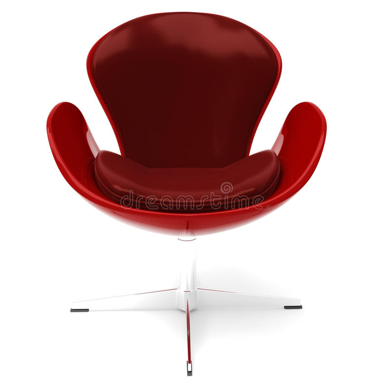 3d扶手椅子查出的皮革红色白色 库存例证