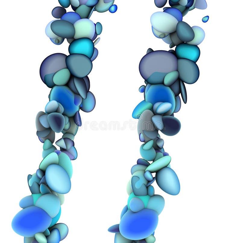 3d抽象一滴蓝色泡影字符串 皇族释放例证