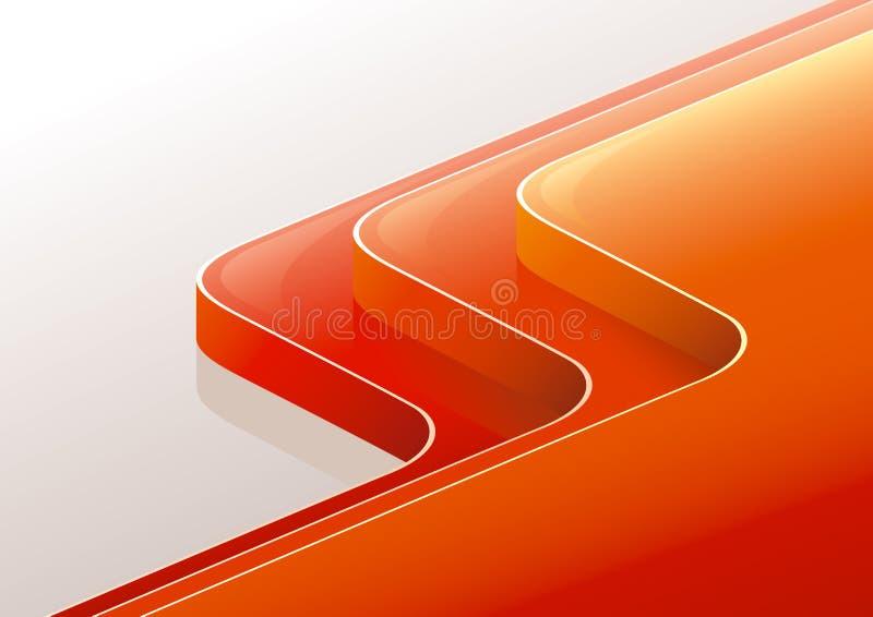 3d抽象光滑的橙色透视图红色步骤 库存例证