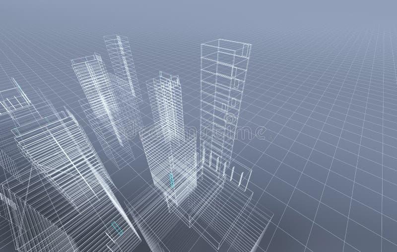 3d抽象城市 向量例证