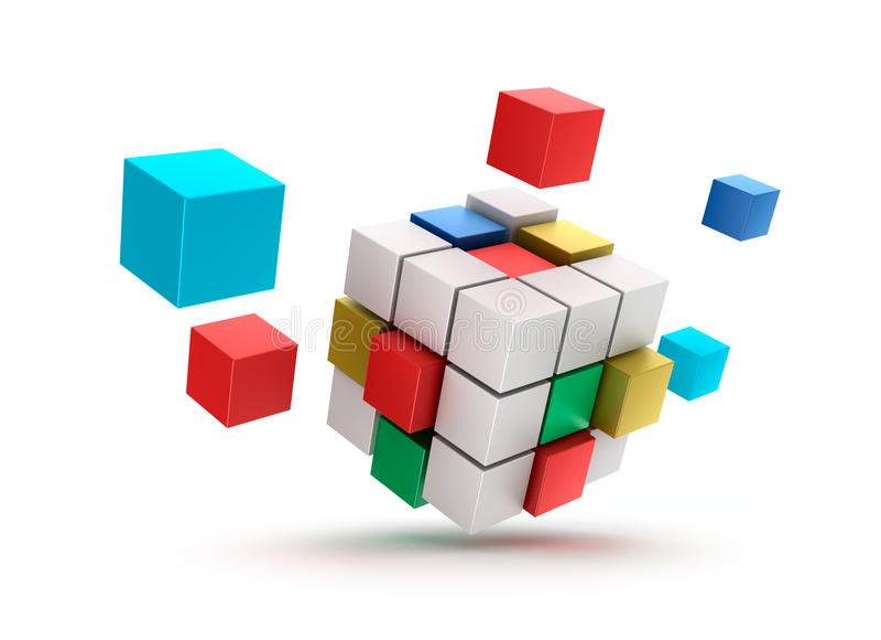 3D抽象多维数据集背景。 在白色。 库存例证