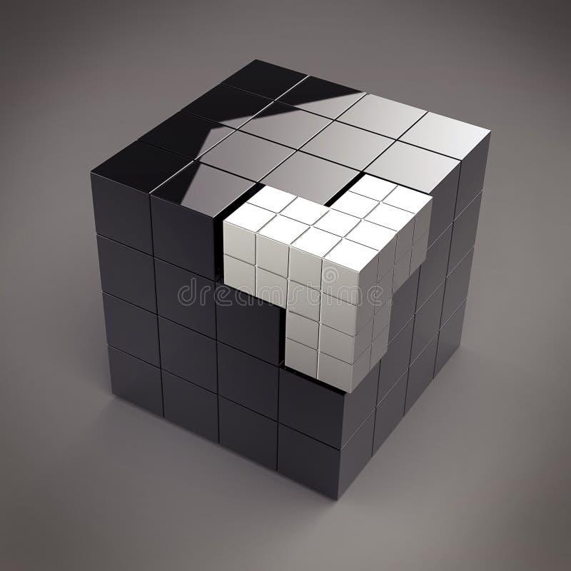 3d抽象未来派黑色的多维数据集 向量例证