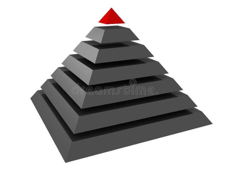 3d抽象概念层次结构领导先锋金字塔 库存例证
