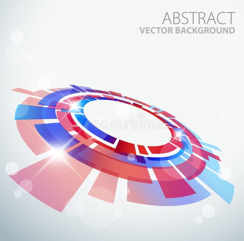 3d抽象背景蓝色对象红色 库存例证