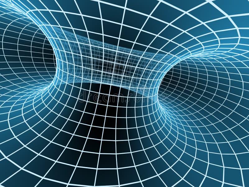 3d抽象蓝色网格隧道 向量例证