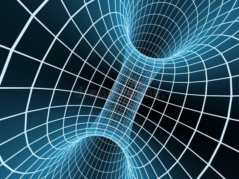 3d抽象蓝色网格隧道 库存例证
