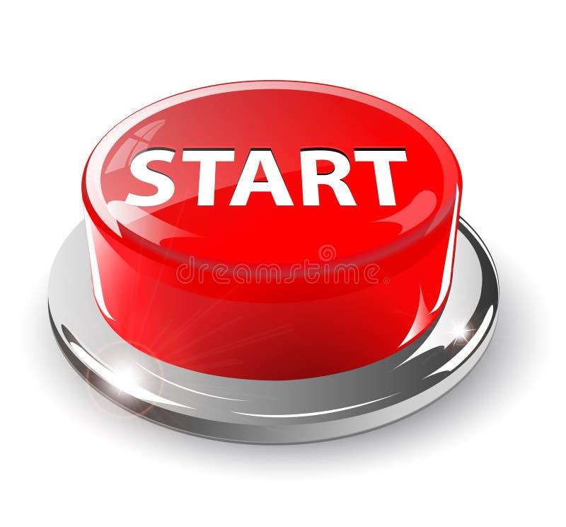 3d按钮红色起始时间 向量例证