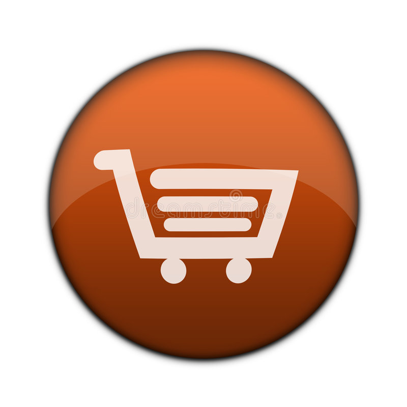 3d按钮购物车光滑的购物万维网 皇族释放例证