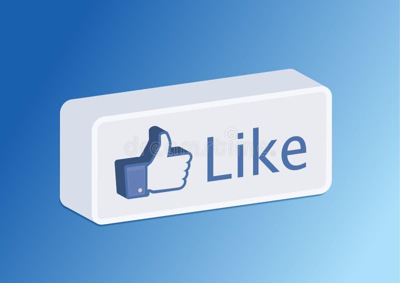 3d按钮facebook喜欢 库存例证