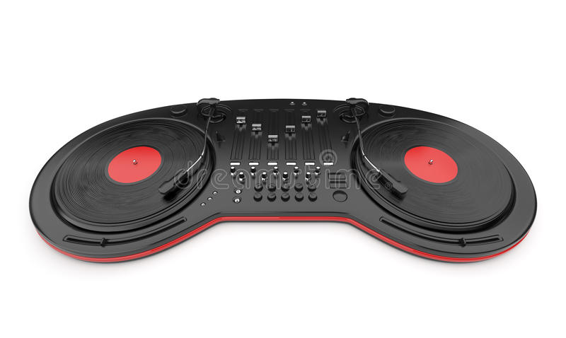 3d控制光盘dj搅拌机音乐 库存例证
