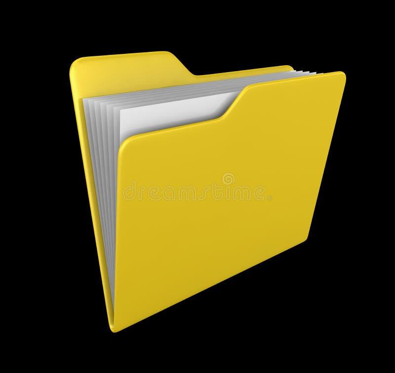 3d文件夹回报黄色 免版税库存照片
