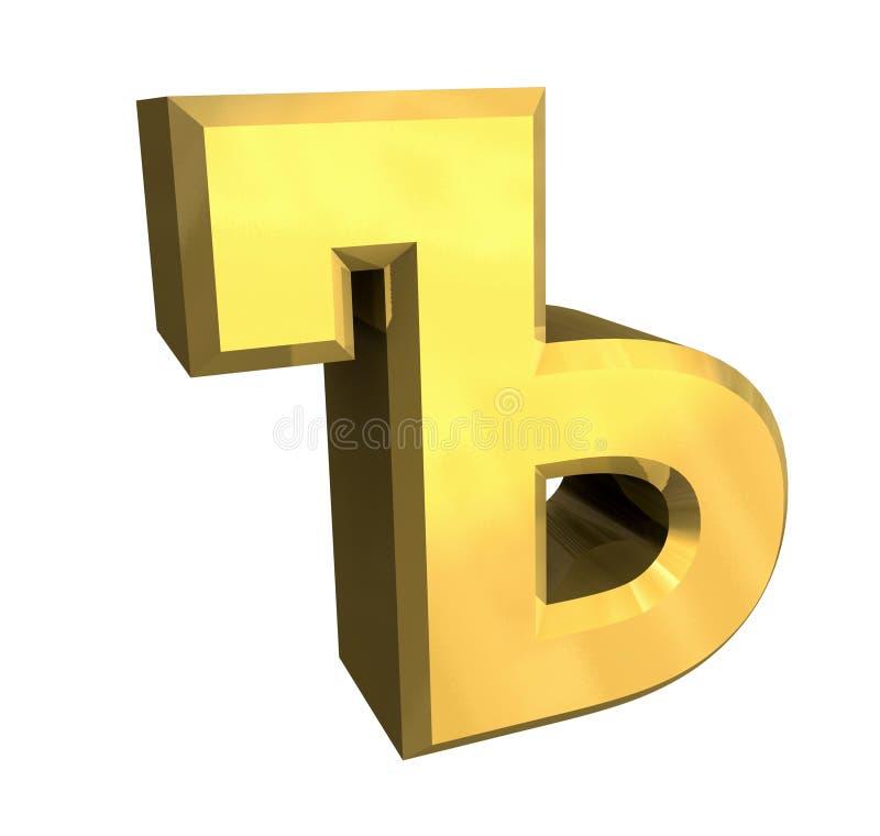 3d斯拉夫语字母的金信函 库存例证