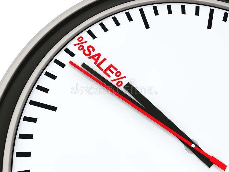 3d时钟红色销售额时间 向量例证