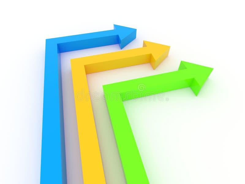 3d更改方向的箭头 向量例证