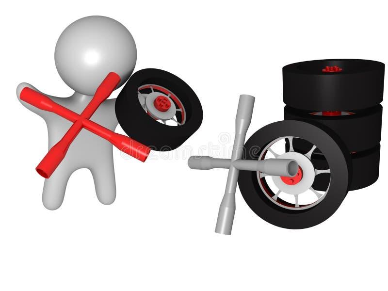 3d更改的混合轮胎 皇族释放例证