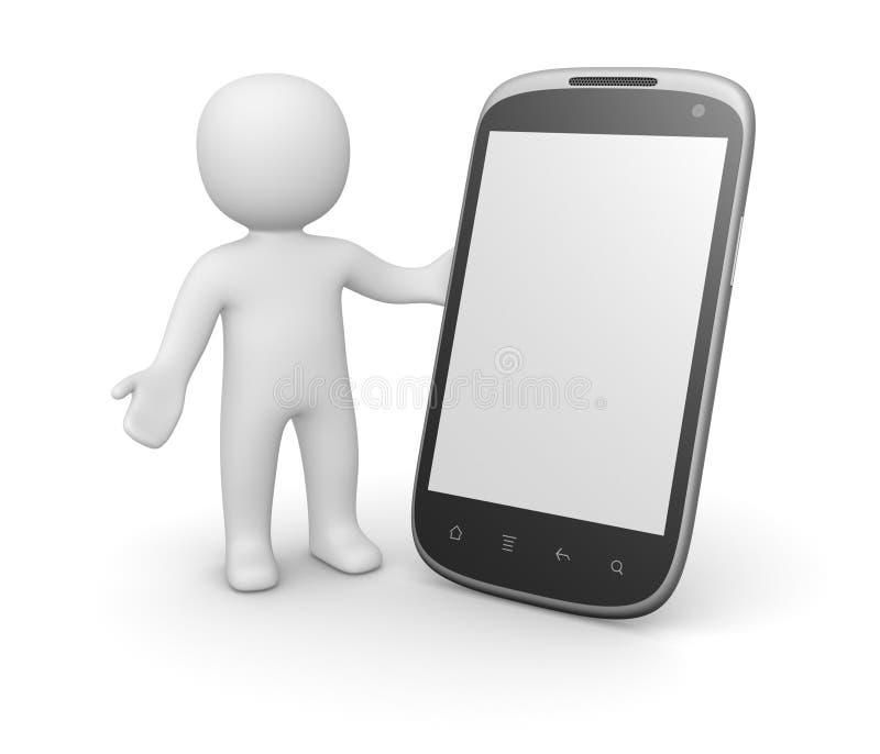 3d有巧妙的电话的人 库存例证