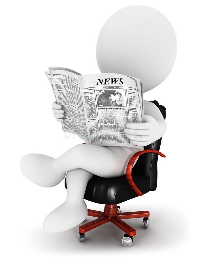 3d有报纸的白人 向量例证