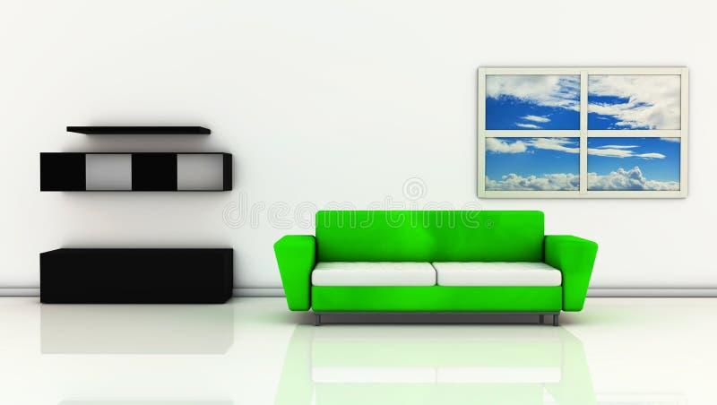 3d有沙发的绿色客厅 库存例证