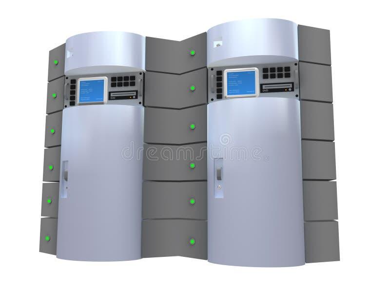 3d服务器银 向量例证