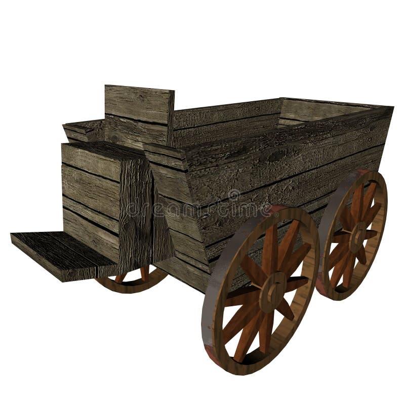 3d木的购物车 皇族释放例证
