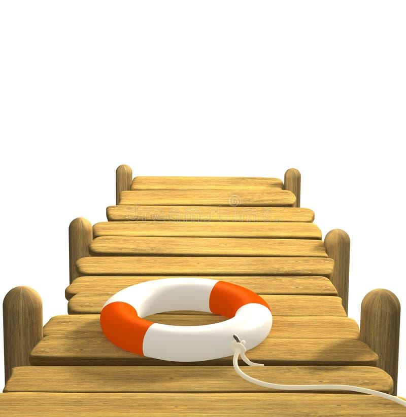 3d木lifebuoy的码头 向量例证