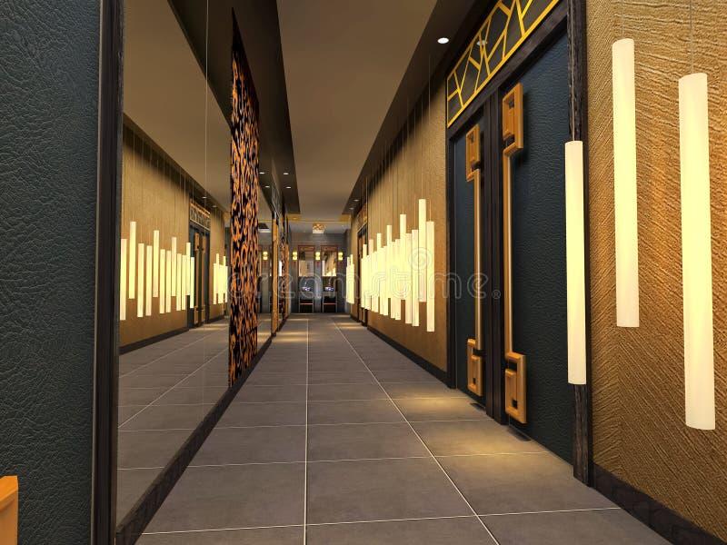 3d未来派的走廊 库存例证