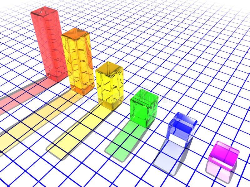 3d条形图玻璃 向量例证