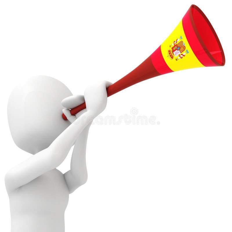 3d查出的人vuvuzela白色 皇族释放例证