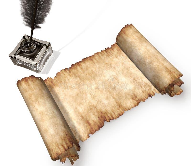 3d查出的生活羊皮纸卷仍然白色 库存照片