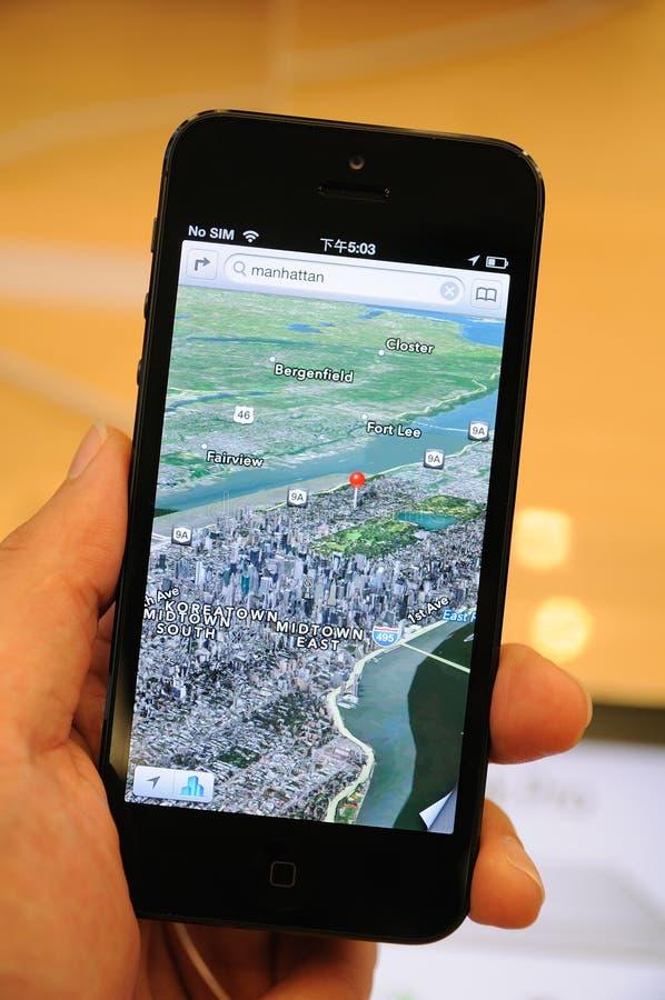 3D查看在iPhone 5的映射 库存照片