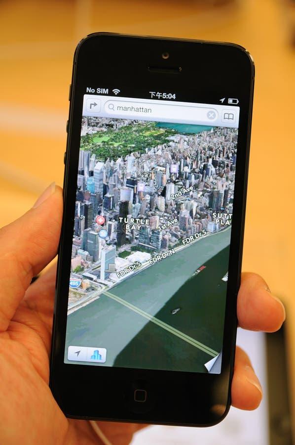 3D查看在iPhone 5的映射 免版税库存照片
