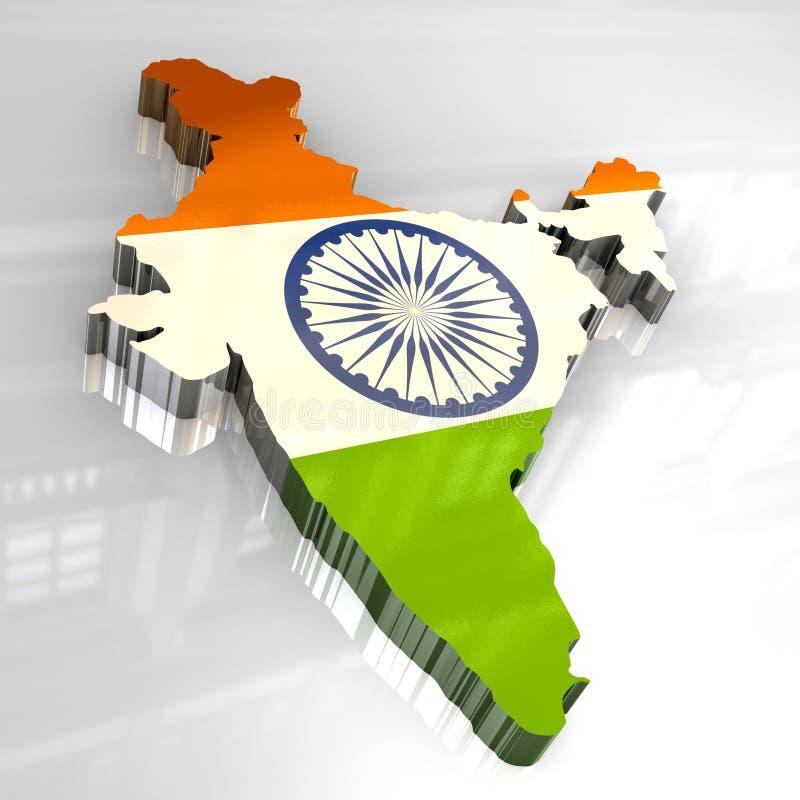 3d标志印度映射 库存例证