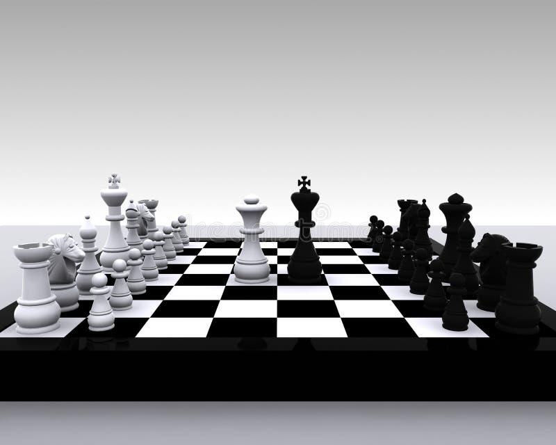 3D棋-国王和女王/王后 库存例证