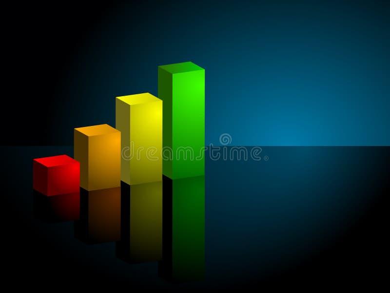 3d棒向上趋向企业的图形 库存例证