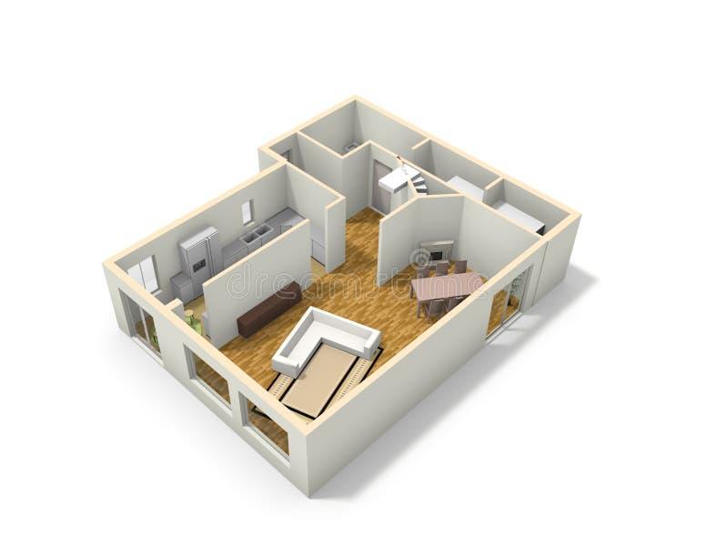 3D楼面布置图。 向量例证