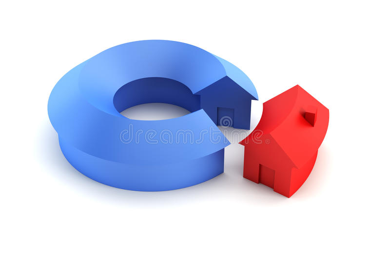 3d概念性绘制房子回报 皇族释放例证