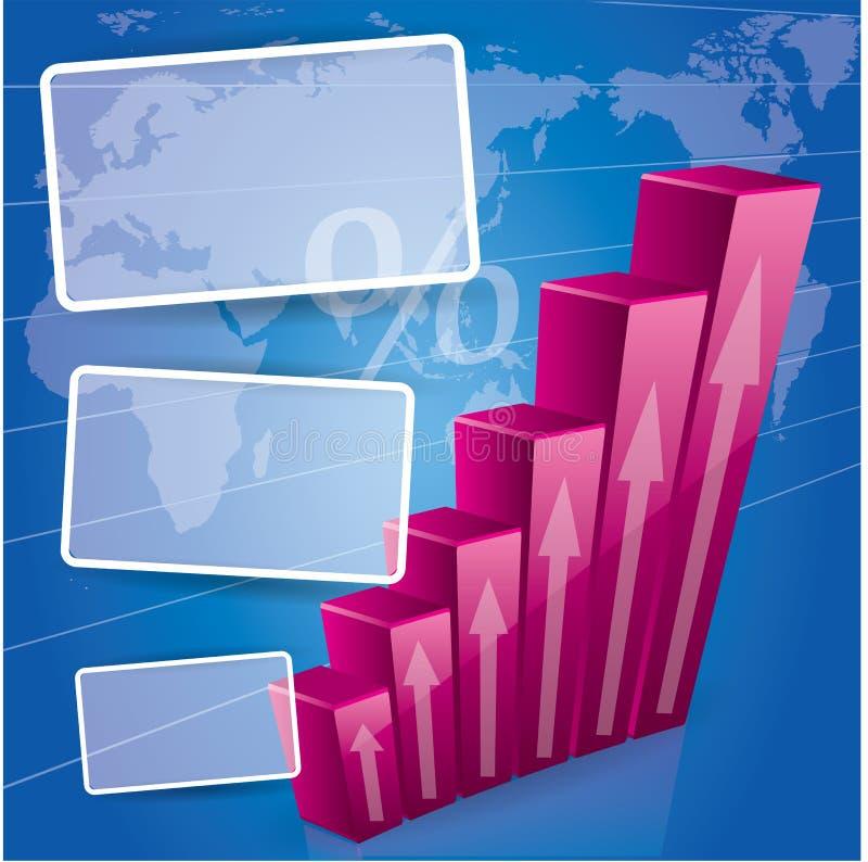 3d概念财务图形增长 皇族释放例证