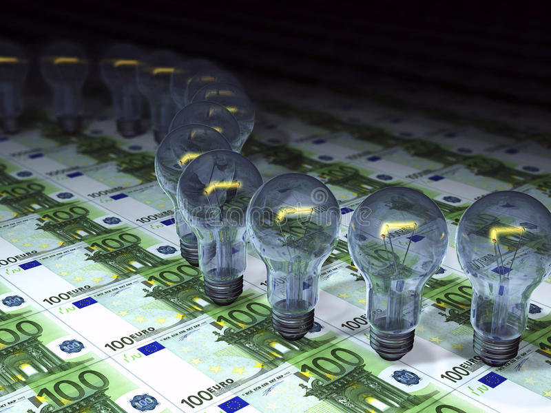 3d概念货币和电灯泡 免版税库存照片